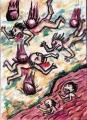 4地獄草紙雨炎火石旅人に酒を飲ませ酔っぱらったところで金品を奪ったり殺害したらここに、焼けた石が降り熱沸河灼熱の川(1)