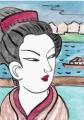 4浮世絵鈴木春信風俗四季歌仙水無月水茶屋 の看板娘(2)