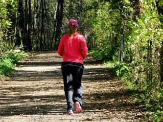 森を走る人