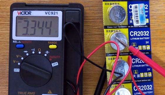 ボタン電池電圧測定