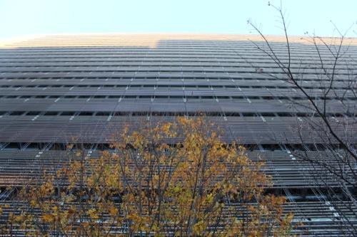 0048:ソニーシティー大崎 ビルの影が投影される北東ファサード
