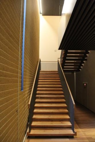 0053:竹中大工道具館新館 削出しの土壁を身近に見れる階段スペース