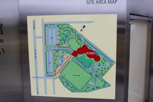 0058:福井市美術館 下馬中央公園の園内図(赤色が美術館)