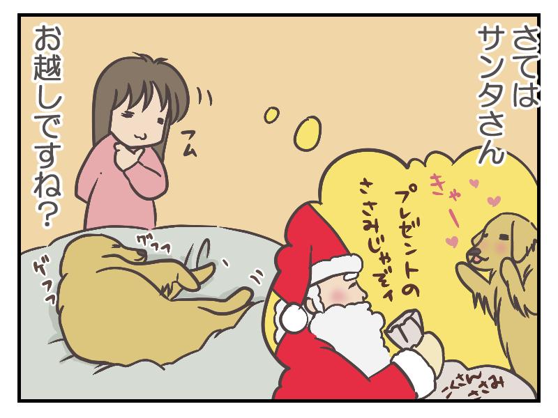 たぶん、夢の中でサンタさんにプレゼントをもらっているのでしょう。プレゼントの中身は、もちろん大好きなササミさん!