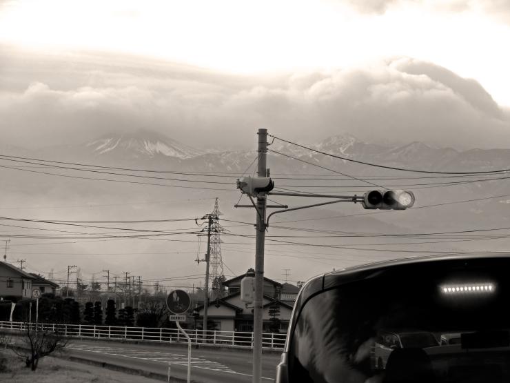 信号待ち雪うさぎ