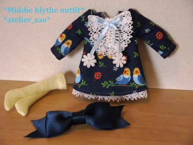 ◆ミディブライス服◆インコと青のワンピース◇ 3