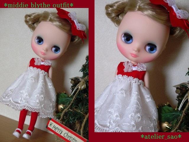 ◆ミディブライス服◆赤と白のドレス★クリスマス1