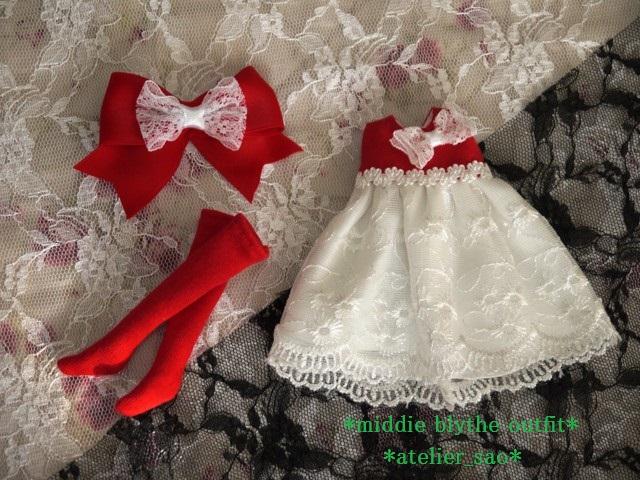 ◆ミディブライス服◆赤と白のドレス★クリスマス3