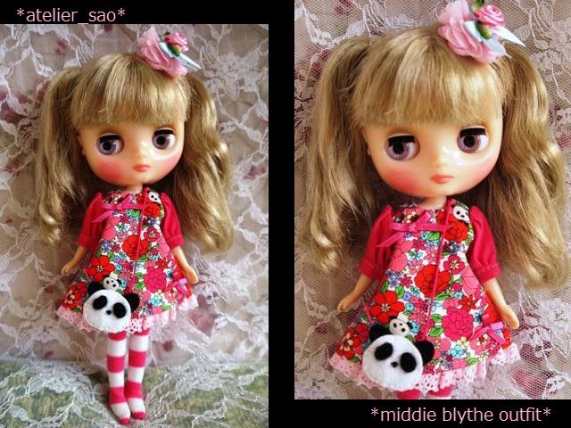 ◆ミディブライス服◆花柄とパンダ①白地×ピンク 1