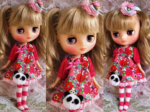 ◆ミディブライス服◆花柄とパンダ①白地×ピンク 2