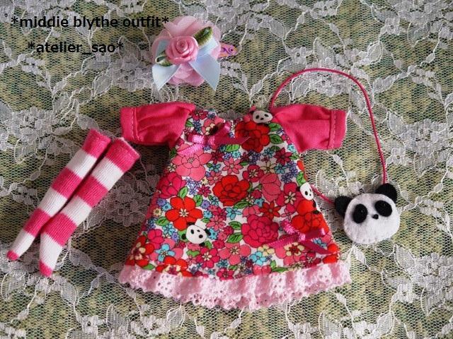 ◆ミディブライス服◆花柄とパンダ①白地×ピンク 3