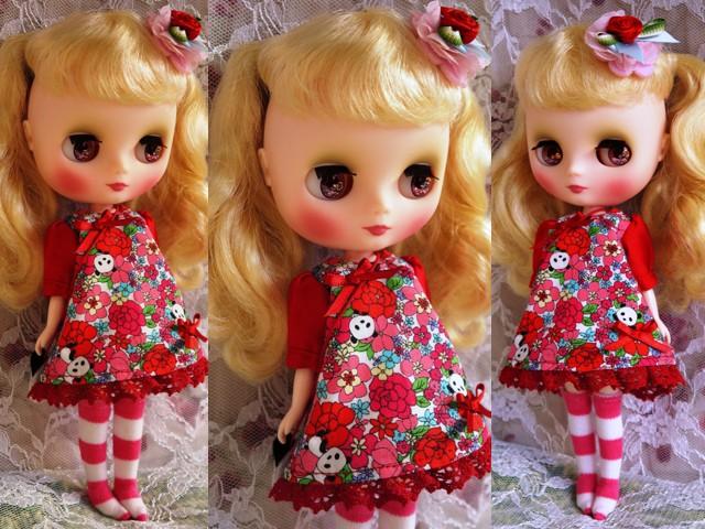 ◆ミディブライス服◆花柄とパンダ②白地×赤2