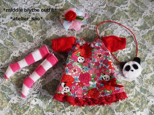 ◆ミディブライス服◆花柄とパンダ②白地×赤3