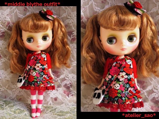 ◆ミディブライス服◆花柄とパンダ③黒地×赤1