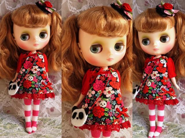 ◆ミディブライス服◆花柄とパンダ③黒地×赤2