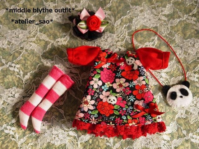 ◆ミディブライス服◆花柄とパンダ③黒地×赤3