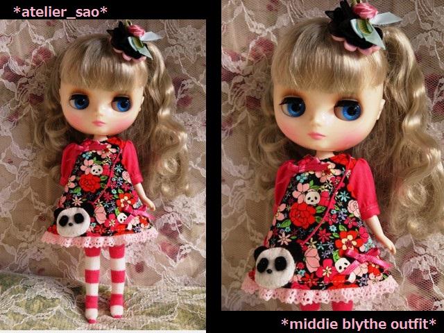 ◆ミディブライス服◆花柄とパンダ④黒地×ピンク 1