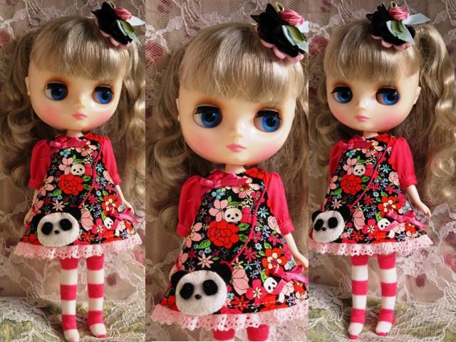 ◆ミディブライス服◆花柄とパンダ④黒地×ピンク 2