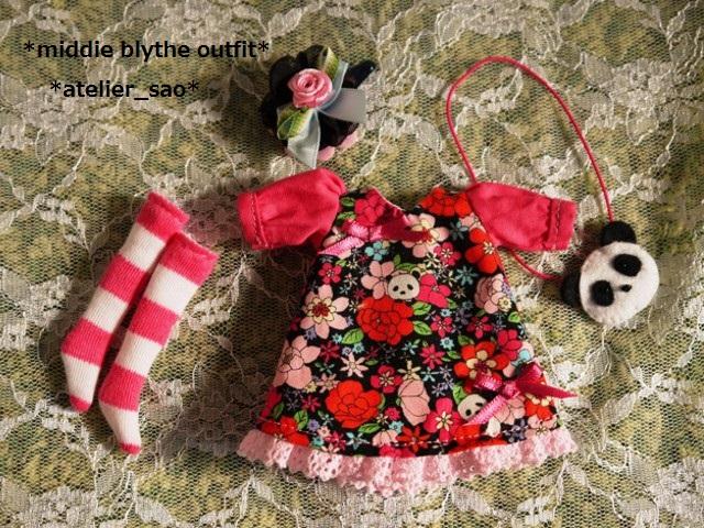◆ミディブライス服◆花柄とパンダ④黒地×ピンク 3