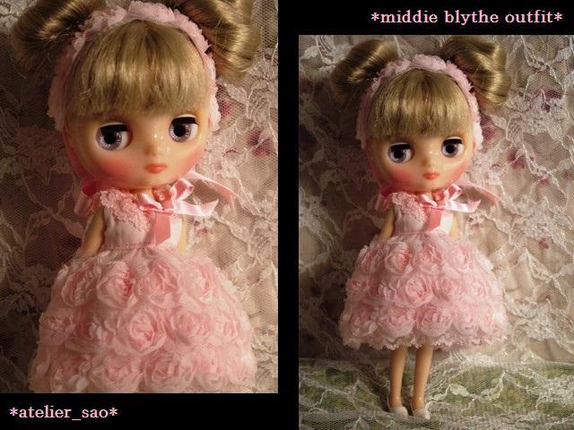 ◆ミディブライス◆薔薇ドレス☆サーモンピンク1