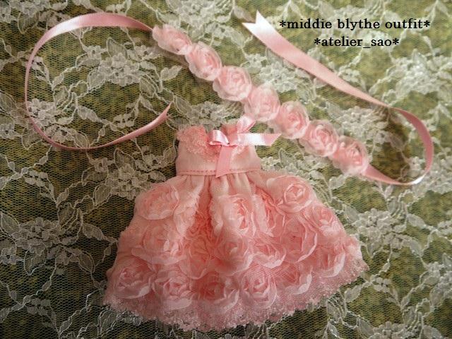 ◆ミディブライス◆薔薇ドレス☆サーモンピンク3