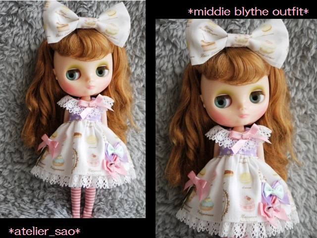 ◆ミディブライス服◆スウィーツ柄☆薄紫×白1