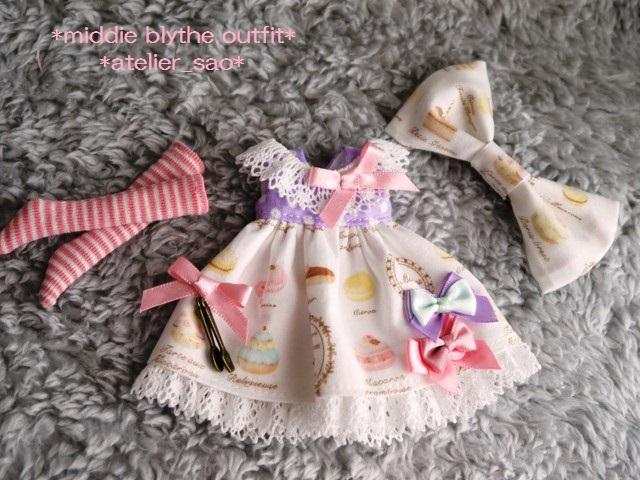 ◆ミディブライス服◆スウィーツ柄☆薄紫×白3