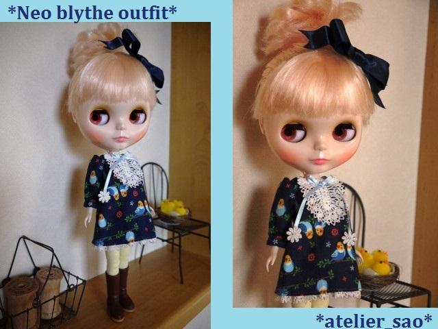 ◆ネオブライス服◆インコと青のワンピース 1