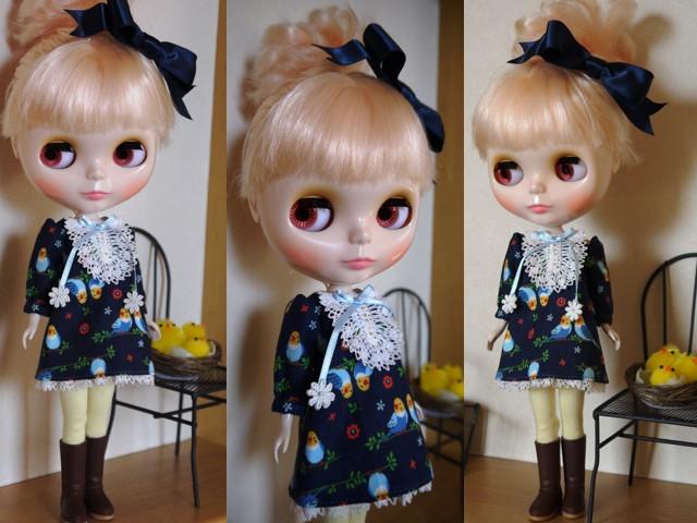 ◆ネオブライス服◆インコと青のワンピース 2