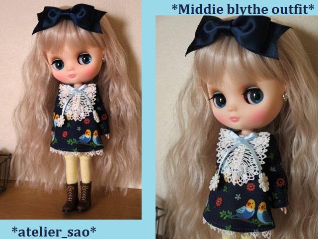 ◆ミディブライス服◆インコと青のワンピース◇ 1