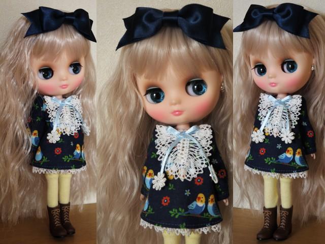◆ミディブライス服◆インコと青のワンピース◇ 2