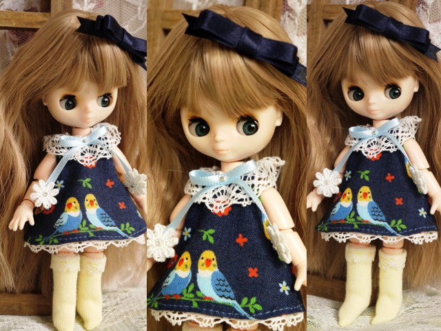 ◆オビツ11服◆インコと青のワンピース◇2