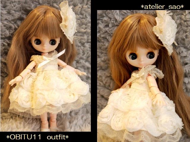 オビツ11★薔薇のドレス アイボリー1