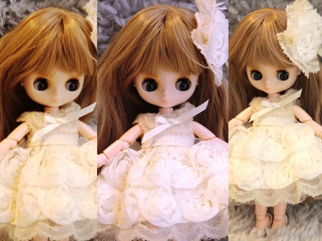 オビツ11★薔薇のドレス アイボリー2