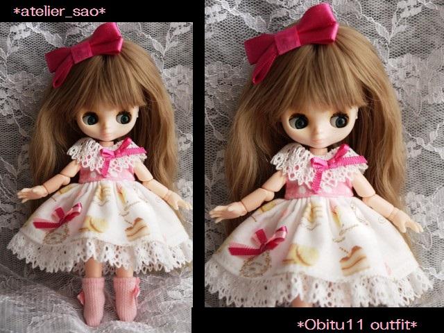 ◆オビツ11服◆スウィーツ柄☆ピンク1