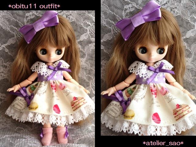 ◆オビツ11服◆スウィーツ柄☆パープル1