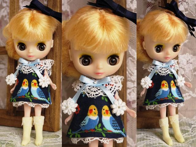 ◆プチブライス服◆インコと青のワンピース◇2
