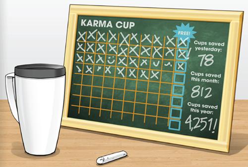 マイカップを持ち込むと10個に1個タダでドリンクが飲める
