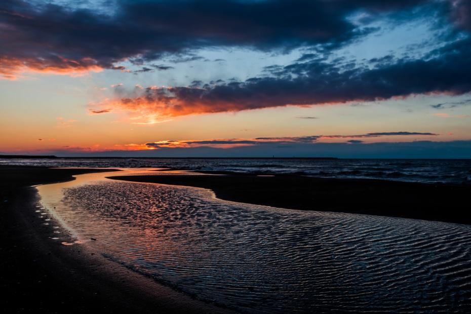 2016.02.08内灘海岸の夕陽2