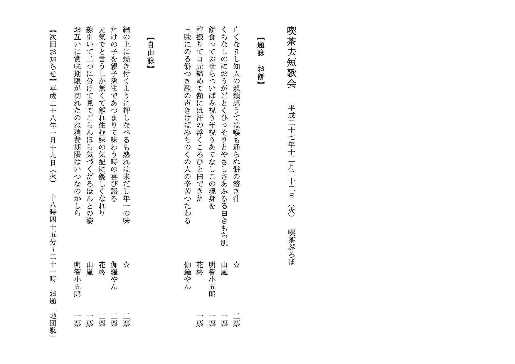 01512 喫茶去短歌会  平成二十七年十二月二十二日(火) 喫茶ぷろぽ