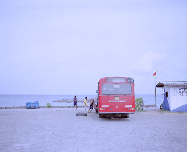 A bus repair along the beach