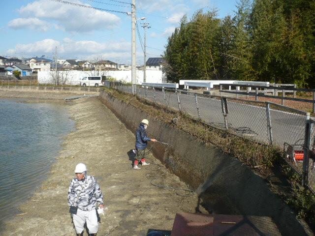 池延命化工事 材料塗布