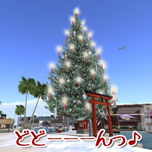 築地なぶ島に現れた巨大クリスマスツリー