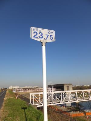 江戸川・三郷排水機場付近距離標識