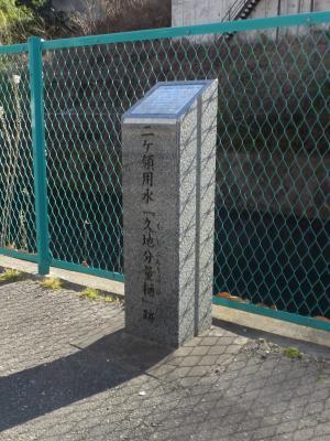 二ケ領用水「久地分量樋」跡の碑