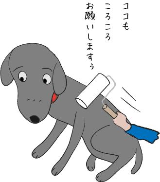 コロコロする犬