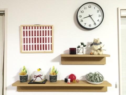 北欧インテリア 正月飾り 北欧テイスト 無印良品 壁に付けられる家具 飾り棚 雑貨ディスプレイ ガラスの鏡餅 門松 セリア seria