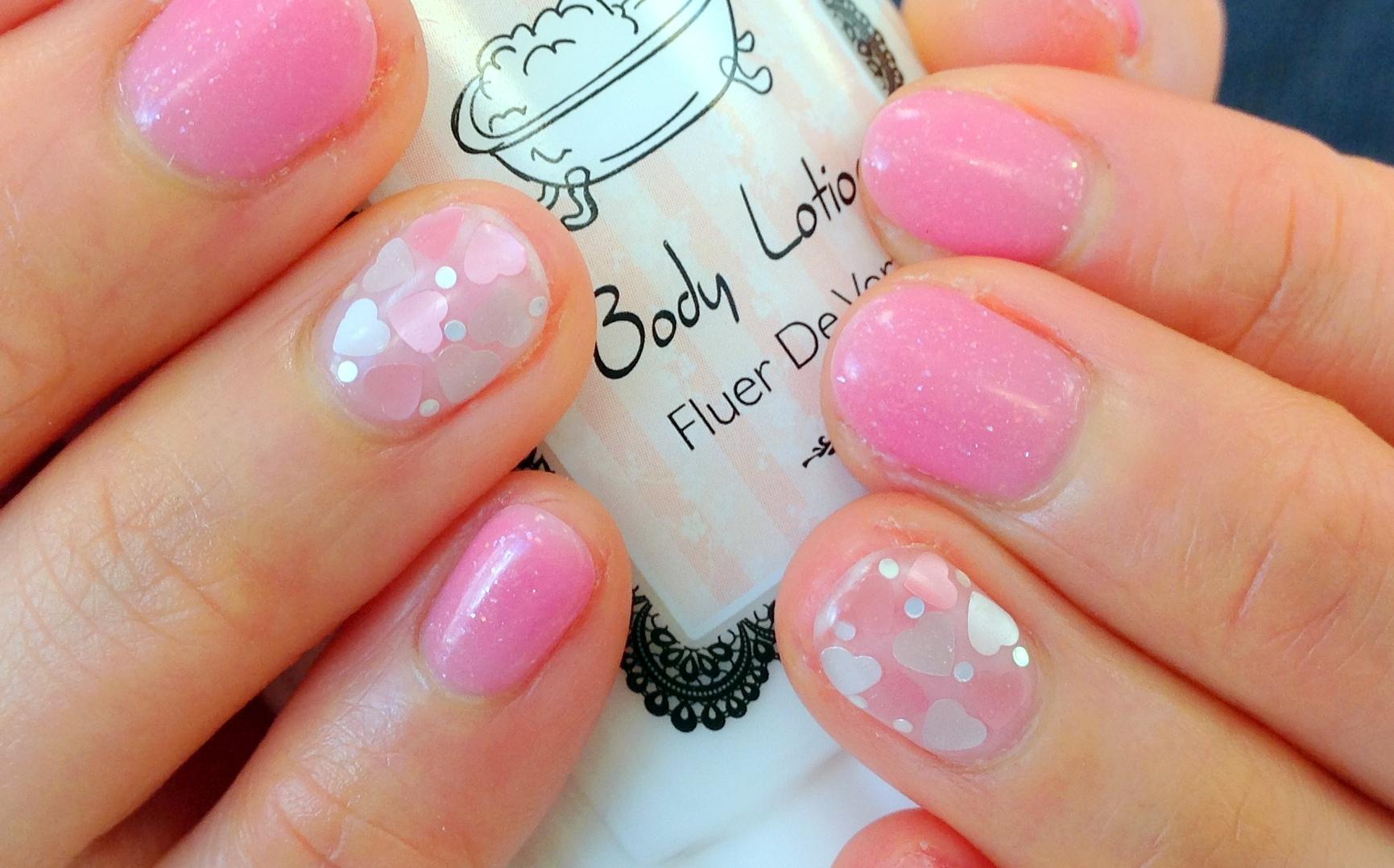 ホログラム ピンク 白 ブレンドカラー バレンタイン ネイル