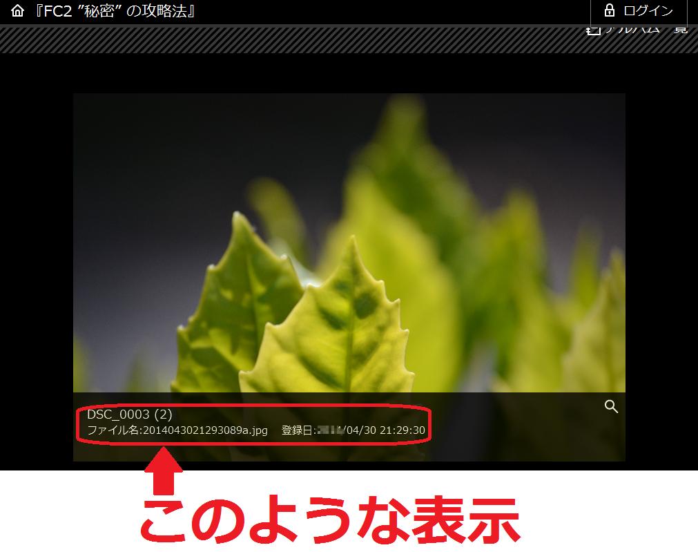 FC2ブログの写真の登録日時を非表示にする方法1