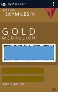 SKYMILES GOLD MREDALION CARD